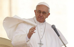 Pope delivers blessing during general audience in St. Peter's Square at Vatican